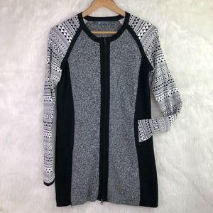 Title Nine Tunic Sweater Zip Geometric